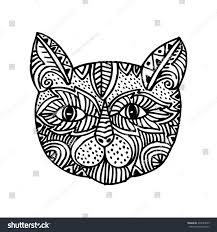 ornamental head cat trendy ethnic zentangle stock vector 375640639