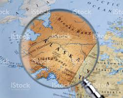 Maps Of Alaska by Magnifying Glass Over A Map Of Alaska Stock Photo 459676665 Istock