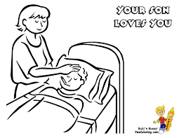 tender mothers day coloring page of mom caring for sick boy you