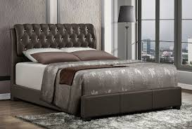 Leather Bed Frame Queen Viola Crystal Tufted Leather Bed