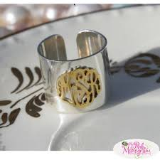 gold monogram ring raised monogram ring in sterling silver and 14k gold plated