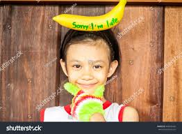 asian headband portrait asian girl wearing banana stock photo 446602426