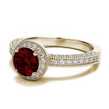 garnet engagement ring halo garnet engagement ring with side stones in 14k yellow