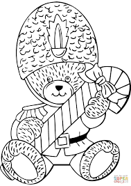 teddy bear candy cane coloring free printable coloring
