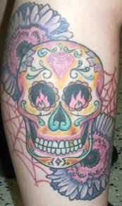tattoosday a tattoo blog juli u0027s right calf a sugar skull and