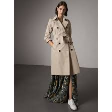 the kensington extra long heritage trench coat in stone women