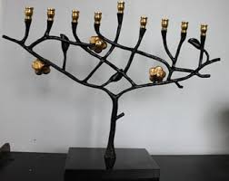 tree of menorah wrought iron menorah etsy