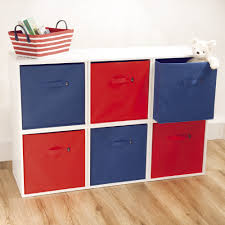 navy and red fabric storage cubes with minimalist nursery storage