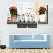 dog on bed painting hd print canvas modular pictures frame wall art 4 panel animal white dog on bed painting