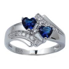 925 sterling silver v shaped heart promise ring size 5 6 7 8 9 10 women s heart blue sapphire 925 sterling silver