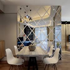 mirror home decor diamonds triangles wall acrylic mirror wall sticker house