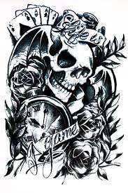 skull large temporary tattoo life is a game skull tattoo black