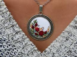 necklace silver etsy images Floral embroidered necklace pendant silver tone needlework jpg