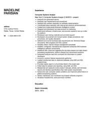 Systems Analyst Resume Sample by Computer Systems Analyst Resume Sample Velvet Jobs