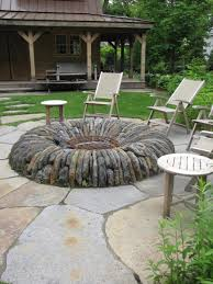 patio small backyard fire pits with wooden chairs round tables on
