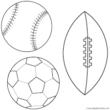 baseball soccer ball and football coloring page father u0027s day