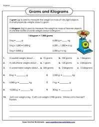 measuring weight kilograms and grams worksheets