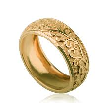 wedding gold rings yellow gold handcrafted vintage domed wedding ring