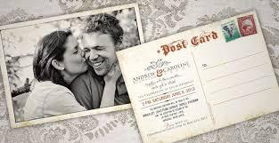 postcard wedding invitations andrew caroline antique postcard wedding invitations 709x365