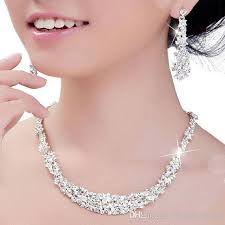 crystal bridal necklace sets images 2018 crystal bridal jewelry set silver plated necklace diamond jpg