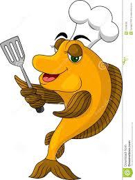 funny cartoon cook fish stock photo image 27048180