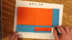 multiplying decimals using area model youtube