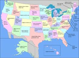 u s map labelled with ways that each state ranks the worst in