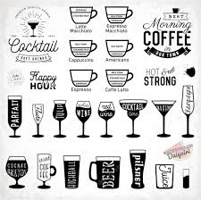cocktail icon vector typographic drinks icon set coffee and cocktail elements in
