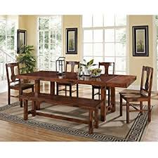 dining room sets solid wood amazon com 6 piece solid wood dining set dark oak table