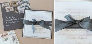 wedding invitations with ribbon ribbon wedding invitation with vintage sts tiny pine press
