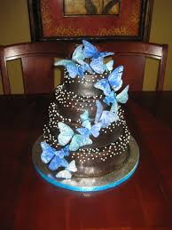 butterfly wedding cake brown and blue butterfly wedding cake cakecentral