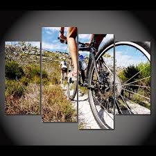 Cycling Home Decor Modern Poster Home Decor Living Room Bedroom 4 Pieces Bicycle