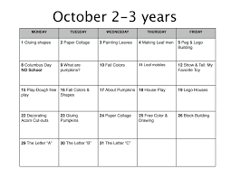 october lesson plan learn nursery school