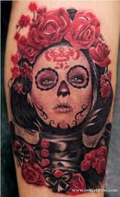 mexican death mask rose tattoo design in 2017 real photo