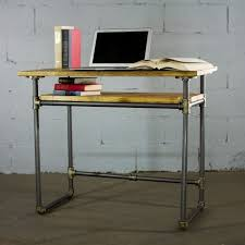 pipe desk with shelves berkeley industrial vintage home office pipe desk with lower shelf