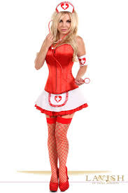 White Corset Halloween Costumes Lavish 5 Pc Pin Nurse Corset Costume