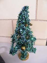 mid century green foil christmas tree 8