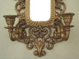 Mirror With Candle Sconces Vintage Ornate Gold Syroco Style Plastic Frame Mirror W Candle