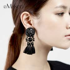 big earing 2017 emanco black tassel statement earrings for women cloth