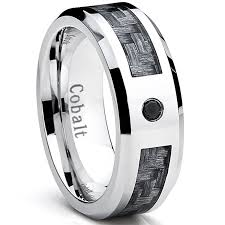 mens wedding bands with diamonds cobalt men s wedding band ring with gray carbon fiber inlay and
