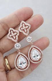 Long Chandelier Earrings Dangle Earrings Rose Gold Teardrop Deluxe Cubic Zirconia Teardrop Earring