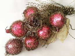antique tinsel with mercury glass grape cluster