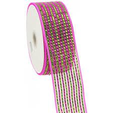 wide mesh ribbon 2 5 poly deco mesh ribbon deluxe wide foil lime pink stripe