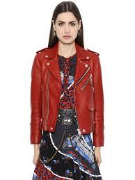 coach 1941 leather biker jacket w dinosaur charm red women