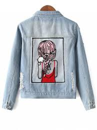 Light Denim Jacket Embellished Shirt Collar Distressed Denim Jacket Light Blue
