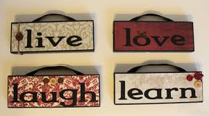 live laugh love learn hanging wooden blocks home decor quotes
