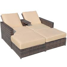 outsunny outdoor 3 piece pe rattan wicker patio loveseat lounge
