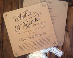 wedding fan programs templates items similar to wedding program template rustic kraft lace