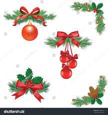 set christmas tree decorations ribbons balls stock vector