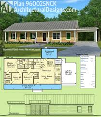 House Plans Single Story Plan 960025nck Economical Ranch House Plan With Carport Simple